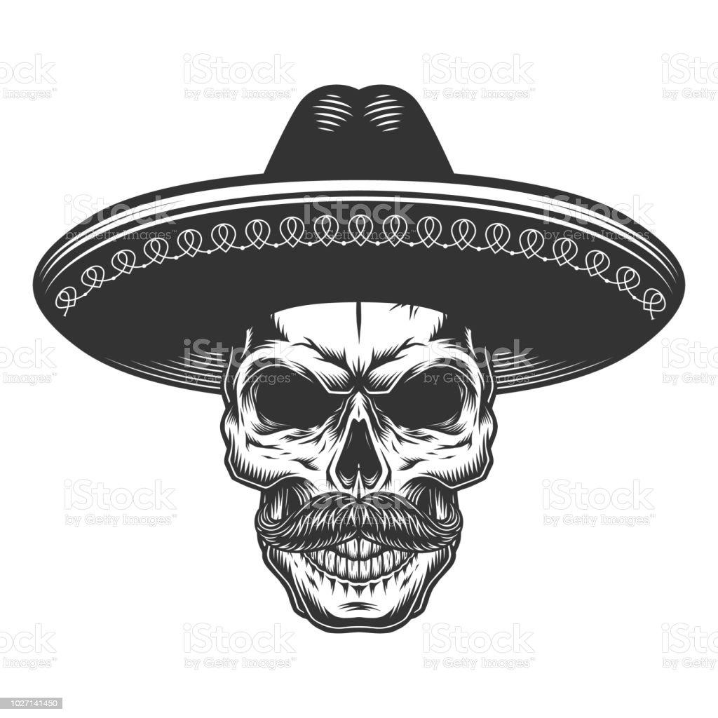 Ilustración de Cráneo En El Sombrero Mexicano y más banco de ...