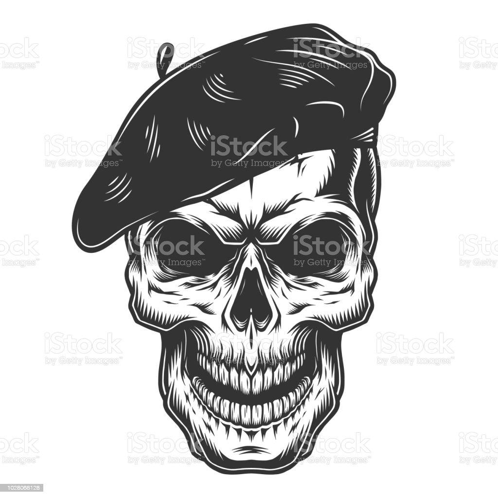 cráneo del sombrero de pintor - ilustración de arte vectorial