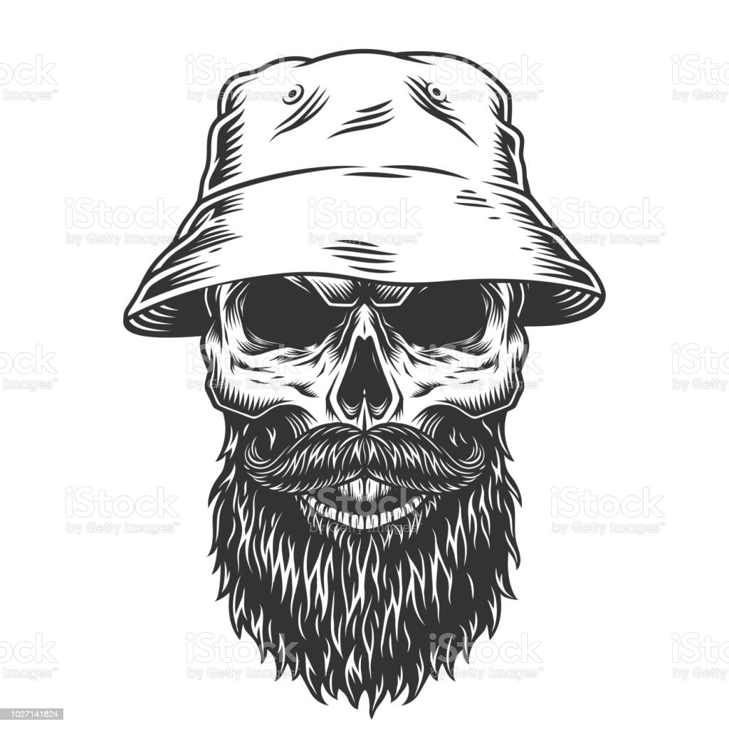 Skull In The Panama Hat Stock Vector Art & More Images of Anatomy ...