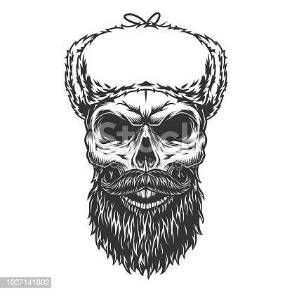 Skull in the ushanka hat. Vector illustration