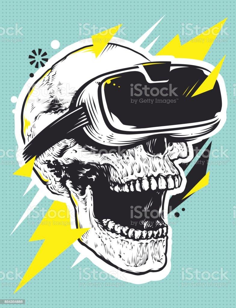 Schädel in der VR Brille Pop Art - Lizenzfrei Abstrakt Vektorgrafik