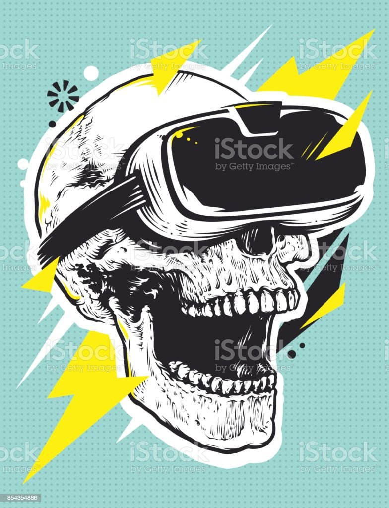 Schädel in der VR Brille Pop Art – Vektorgrafik