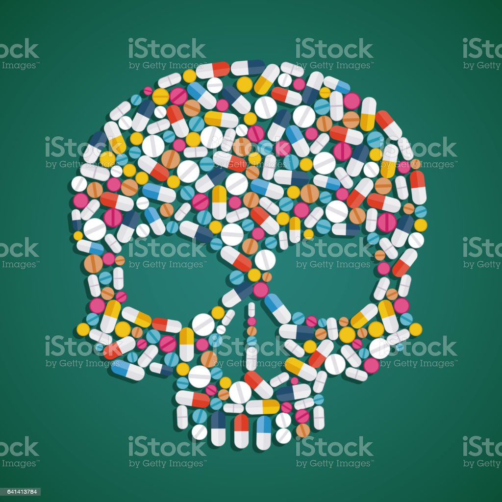 Skull is composed of pills and tablets. vector art illustration