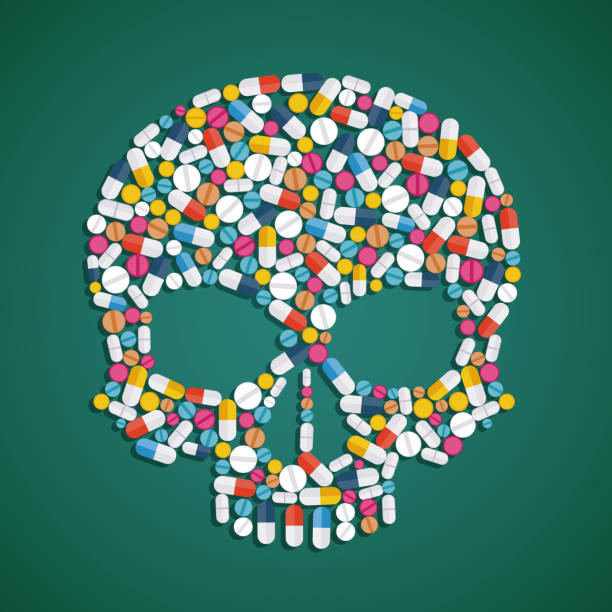 illustrazioni stock, clip art, cartoni animati e icone di tendenza di skull is composed of pills and tablets. - antidolorifico