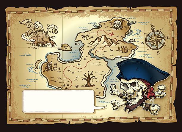 ilustrações, clipart, desenhos animados e ícones de ilha mapa de caveira de pirata - mapas de tesouro