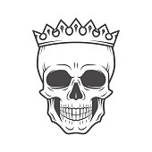 Skull King Crown design element. Vintage Royal illustration. Medieval style