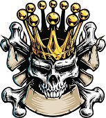 This is a rough illustration of a skull and crossbones with a king's crown. The black and white part of the image is on it's own layer. Each color section is on it's own layer as well making it easy to turn off or edit. The file is provided as an Illustrator 10 EPS and a 300dpi high-rez jpg.