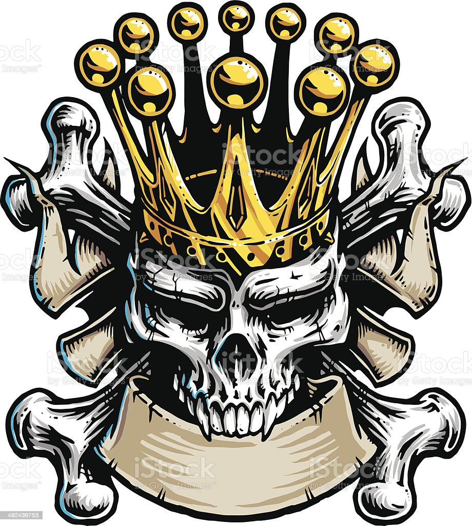 Skull King vector art illustration