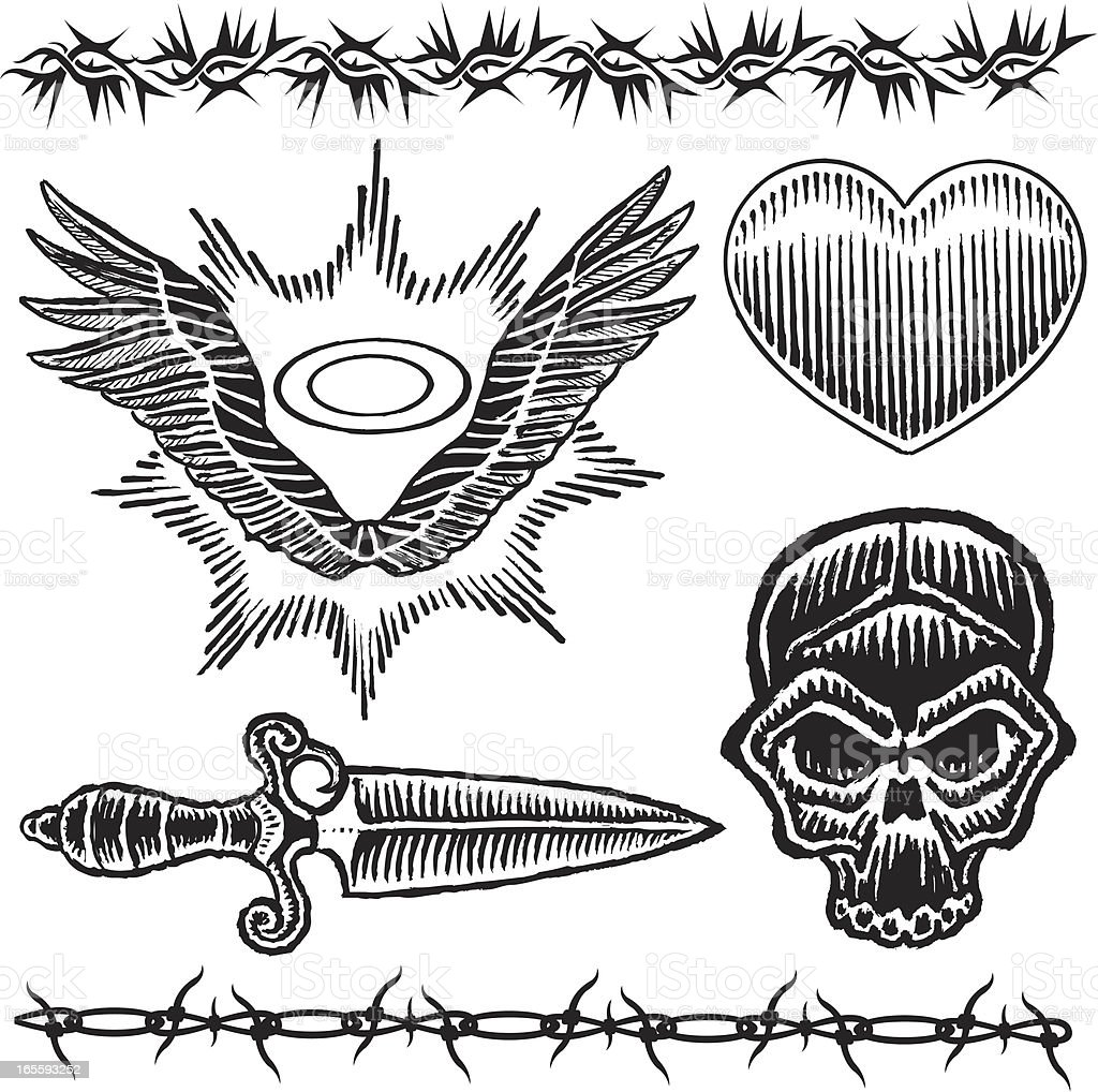 Skull Knife Heart Barbed Wire Wings And Halo Tattoo Designs Stock ...