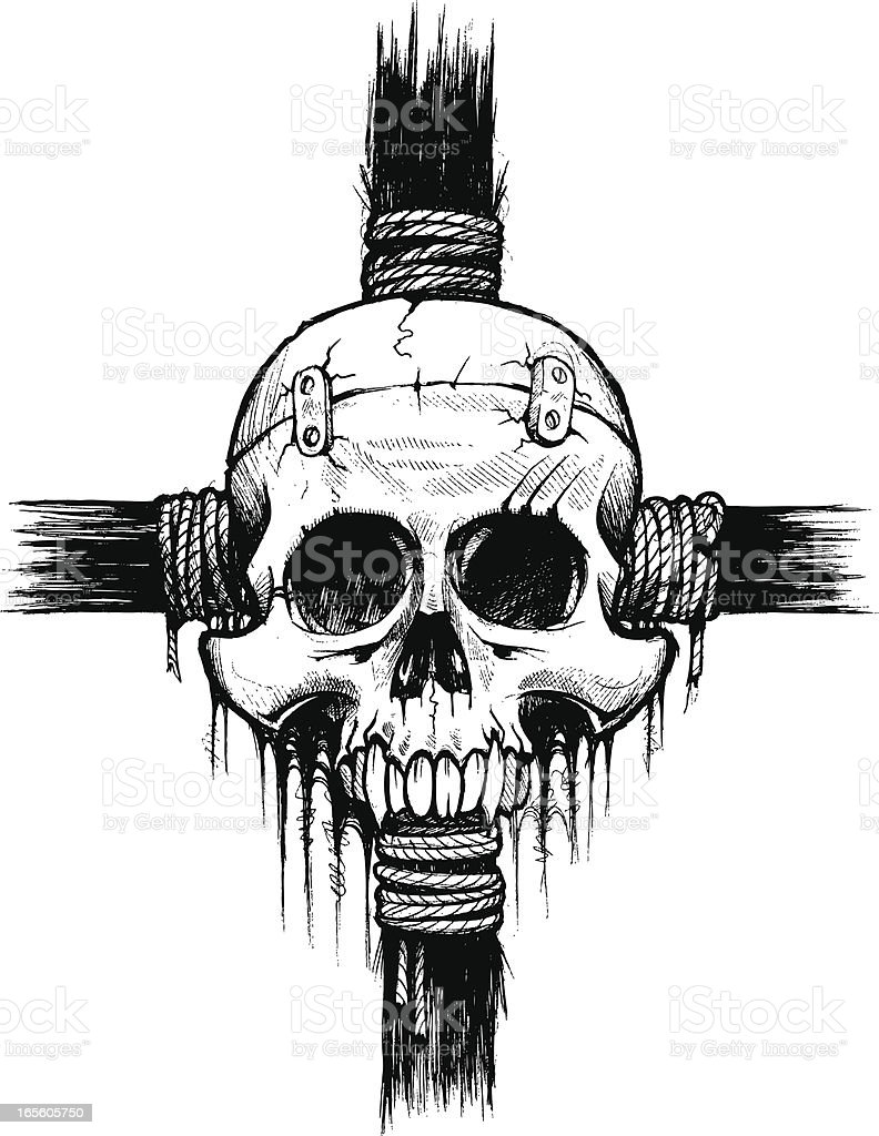 Skull Laced Up B&W vector art illustration