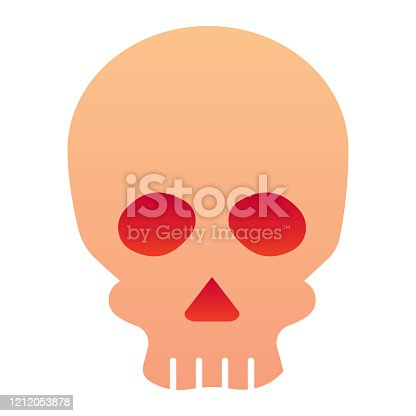 istock Skull line icon. Deadman scary skeleton head. Halloween party vector design concept, outline style pictogram on white background. 1212053878