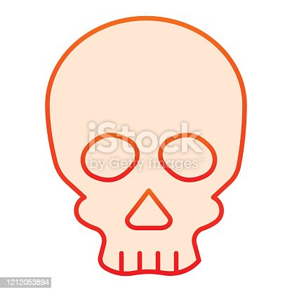 istock Skull line icon. Deadman scary skeleton head. Halloween party vector design concept, outline style pictogram on white background. 1212053894