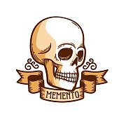 istock Skull logo templatewith ribbon, great design for any purposes 1296813124