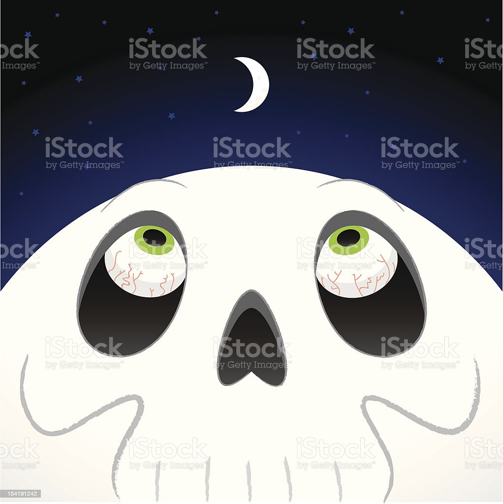 Skull looking at the moon royalty-free stock vector art