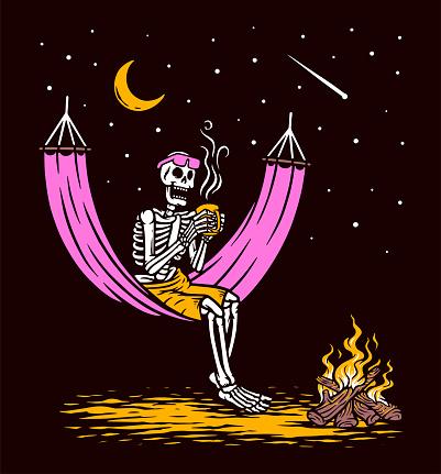 Skull lying drinking coffee vector illustration