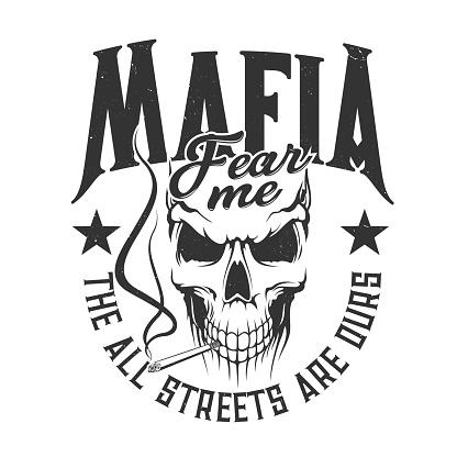 Skull mafia gangsters t-shirt print, street gang