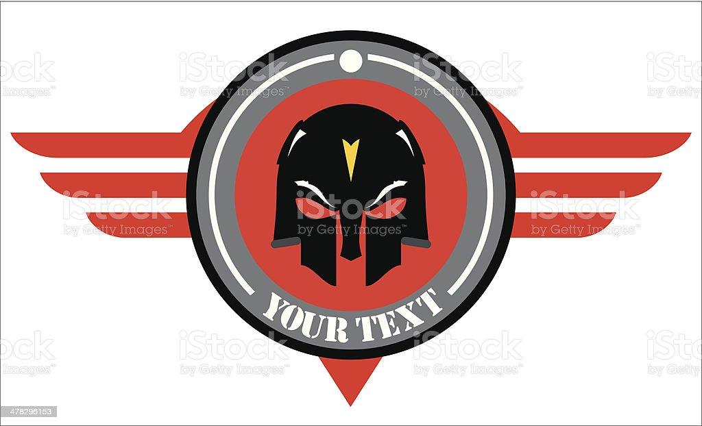 skull mask over winged red shield vector art illustration
