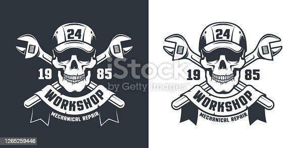 Skull Mechanic Worker - workshop retro emblem