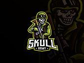 Zombie army mascot vector illustration logo. Death army mascot design, Emblem design for esports team. Vector illustration