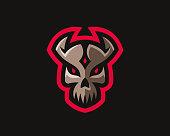 Skull modern logo. Skull design emblem template for a sport and eSport team.