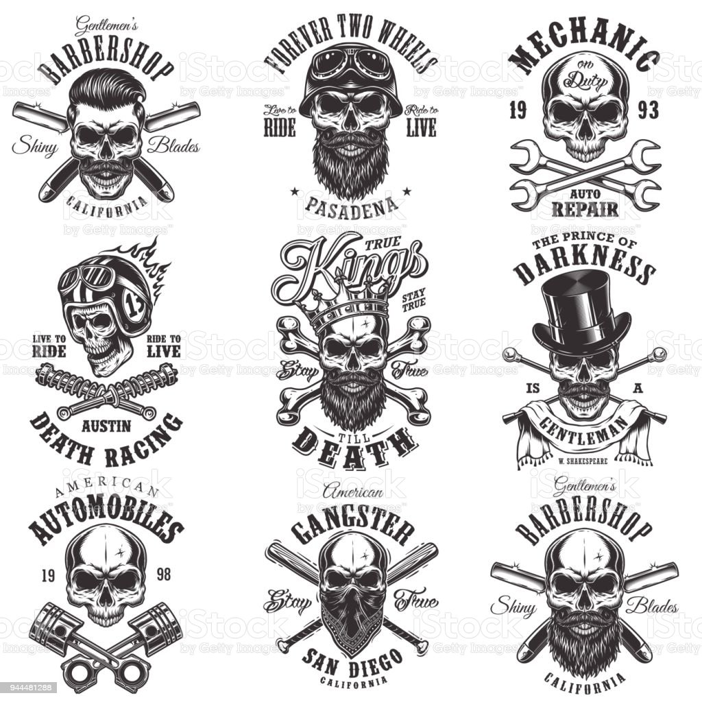 Skull monochrome emblems vector art illustration