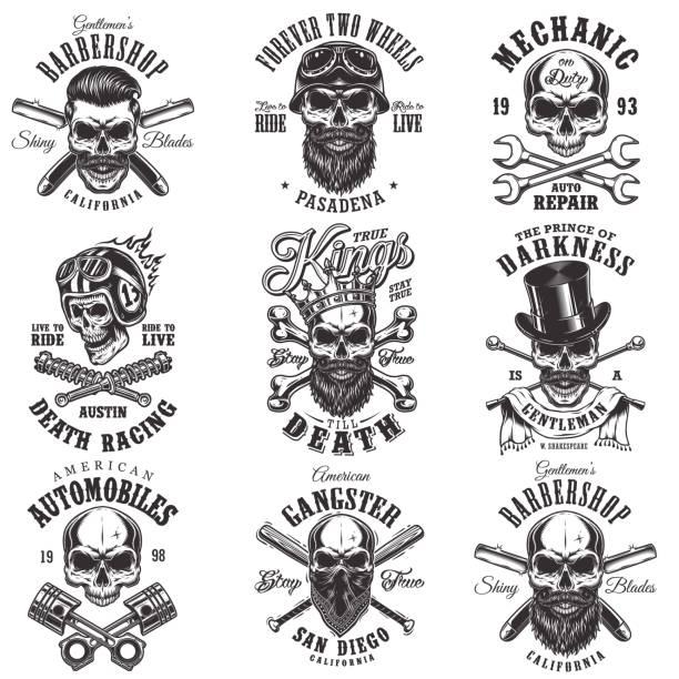 Skull monochrome emblems vector art illustration