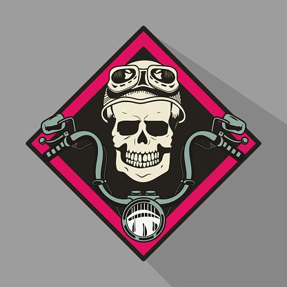 skull motorbiker with helmet