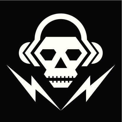 Skull Music Logo Sign