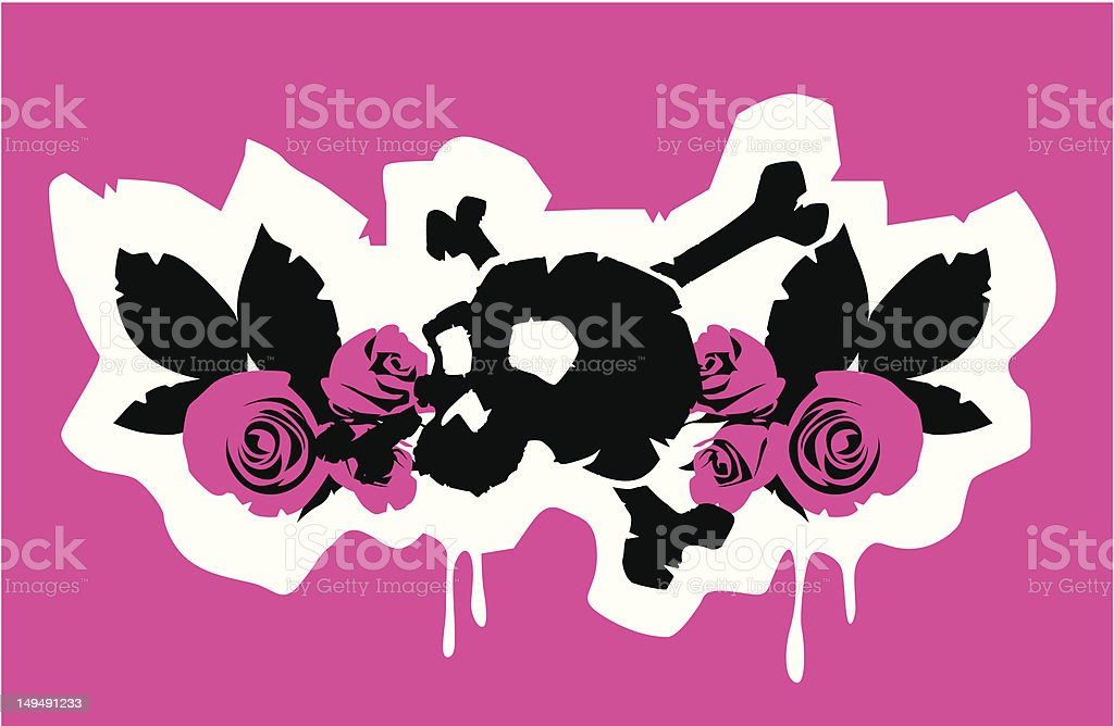 Skull n' Roses royalty-free stock vector art