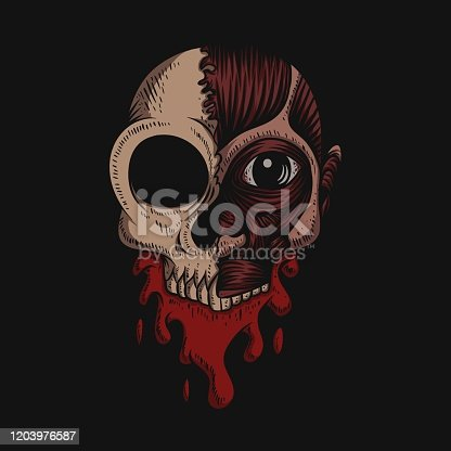 istock Skull No Skin Blood vector illustration 1203976587