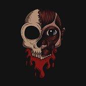 istock Skull No Skin Blood vector illustration 1203976587