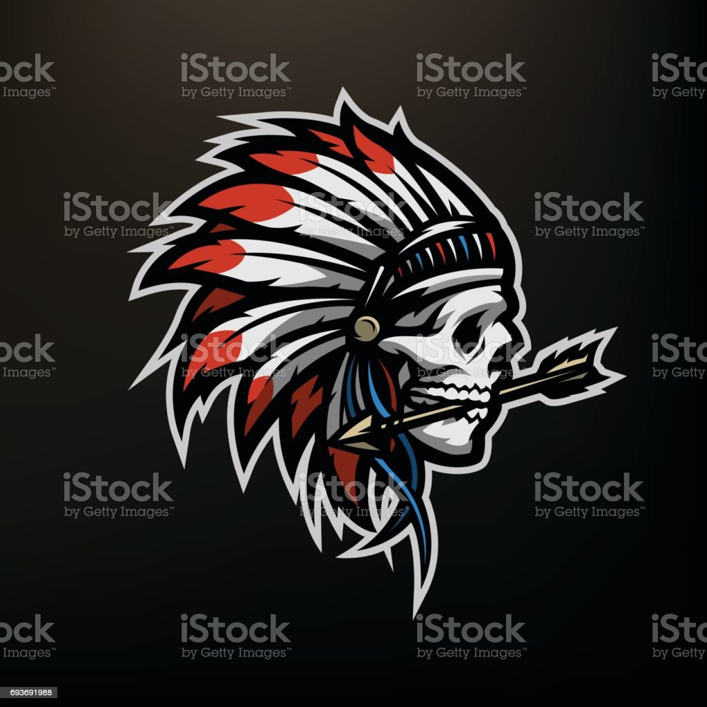 Skull Of An Indian Warrior Stock Vector Art More Images Of Apache