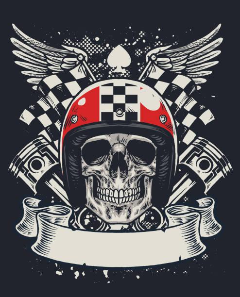 schädel von biker t-shirt stil design - funktionsjacke stock-grafiken, -clipart, -cartoons und -symbole