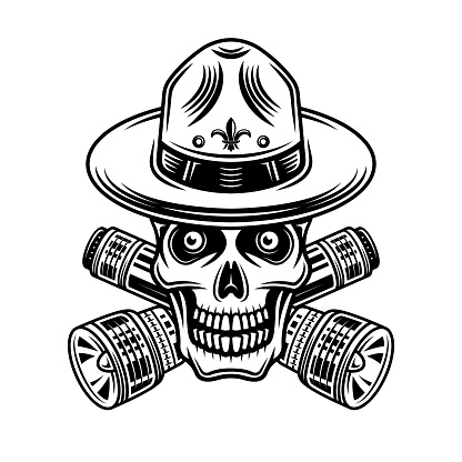 Skull of boy scout with two crossed flashlights vector illustration in vintage monochrome style isolated on white background