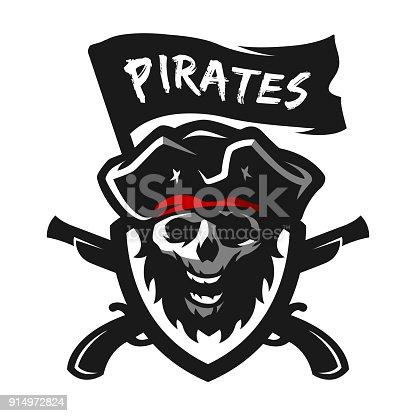 Skull Of Captain Of Pirates Logo Emblem Stock Vector Art More