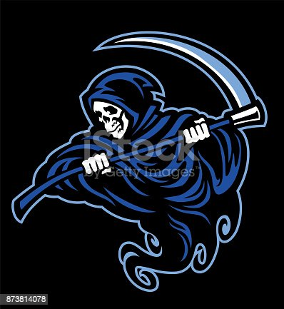 skull of grim reaper with the sickle