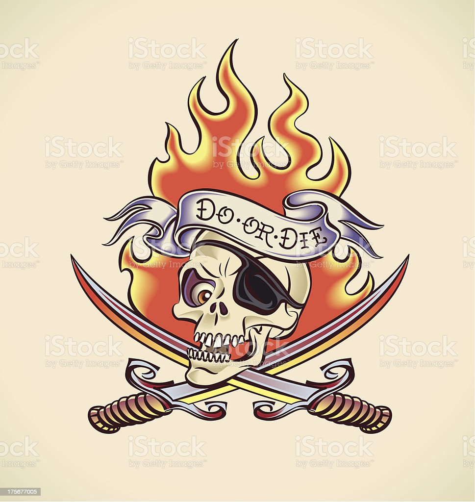 Skull of Pirate - tattoo design royalty-free stock vector art