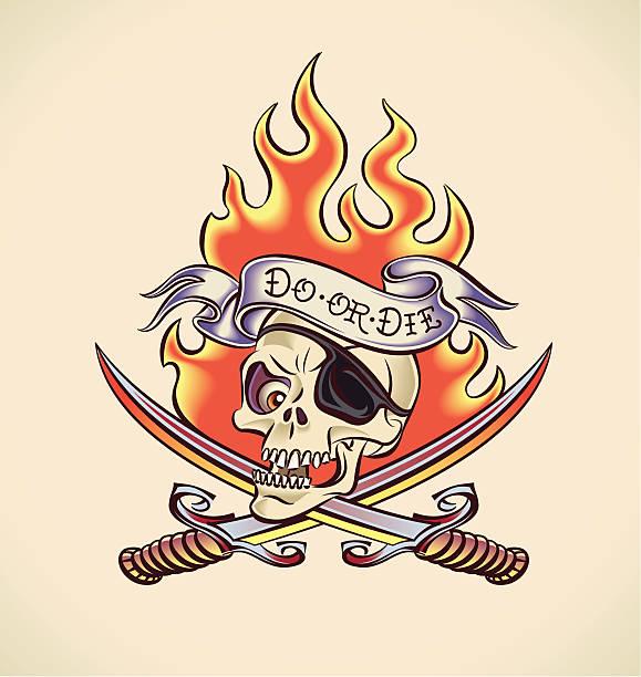 海賊頭蓋骨のタトゥーデザインの - 炎のタトゥー点のイラスト素材/クリップアート素材/マンガ素材/アイコン素材