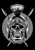 skull of roman warrior with sword crossed