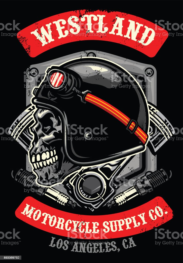 skull of vintage racer vector art illustration