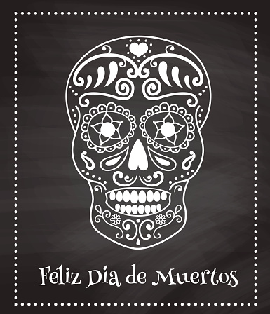 skull on a chalkboard