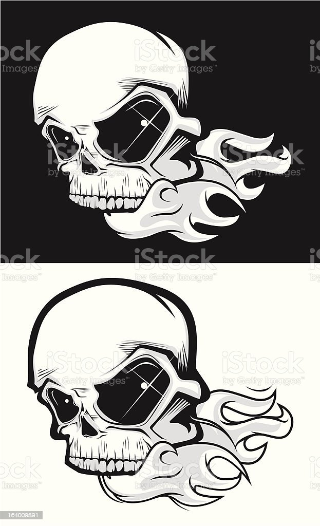 Skull on fire black and white royalty-free stock vector art