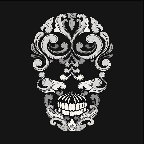 Skull Ornamental Indonesian Style vector art illustration