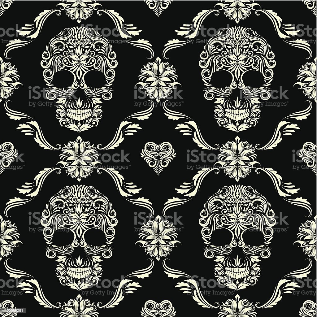 Skull Ornamental Pattern vector art illustration