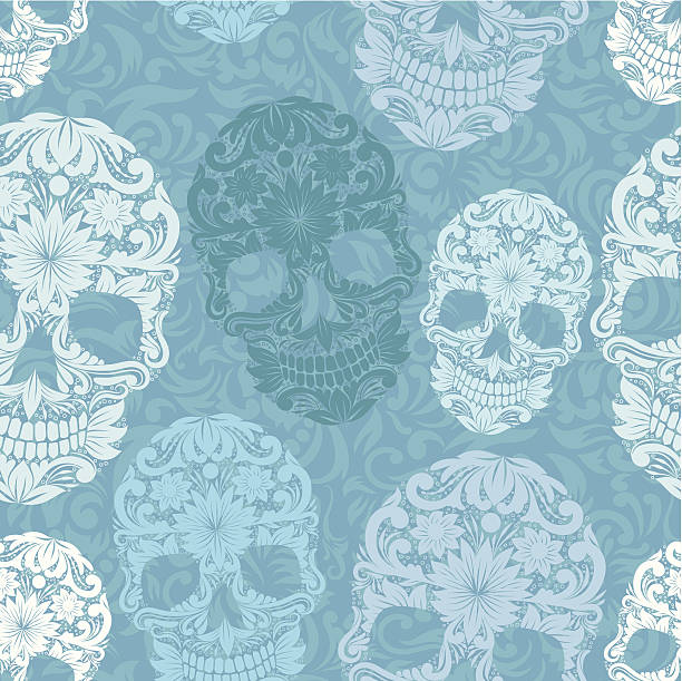 Skull pattern classic vector art illustration