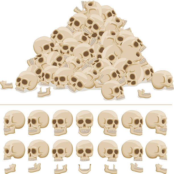 Skull pile A pile of skulls in A8 EPS, arrange you own pile as you see fit. human jaw bone stock illustrations
