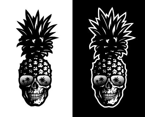 Skull pineapple in sunglasses on a light and dark background. Vector illustration.
