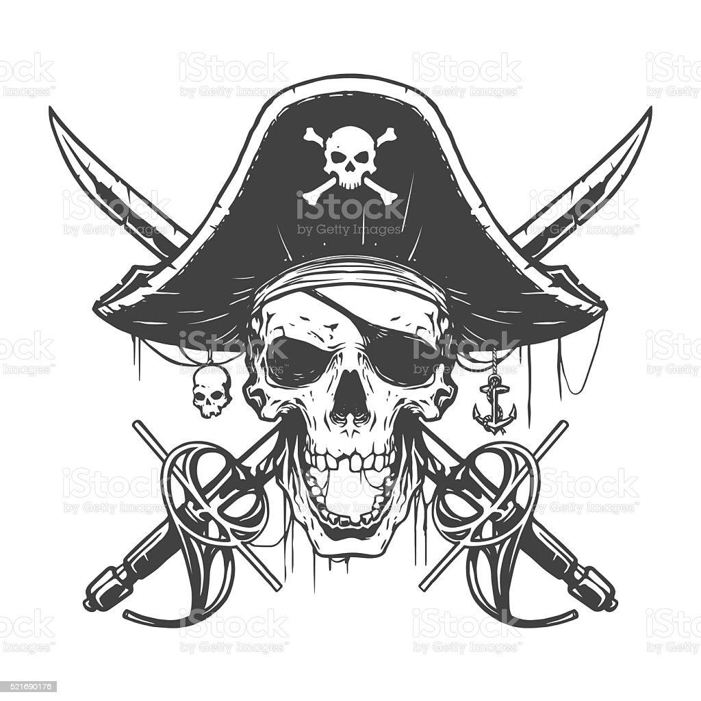 Skull pirate illustration vector art illustration