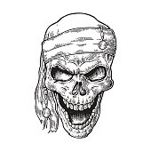 Skull pirate in bandana smiling. Black vintage engraving vector