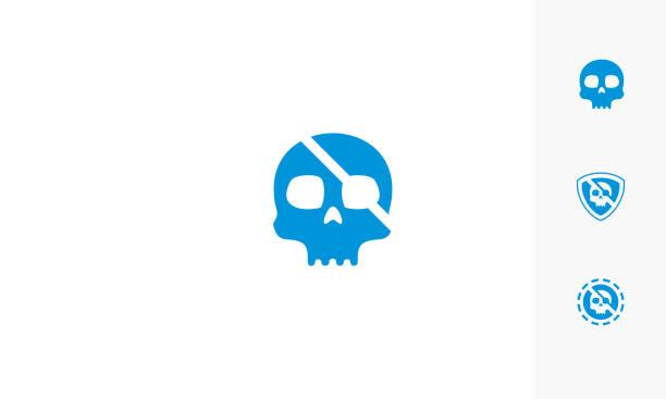 ilustraciones, imágenes clip art, dibujos animados e iconos de stock de icono de calavera pirata logo vector - tatuajes de espadas